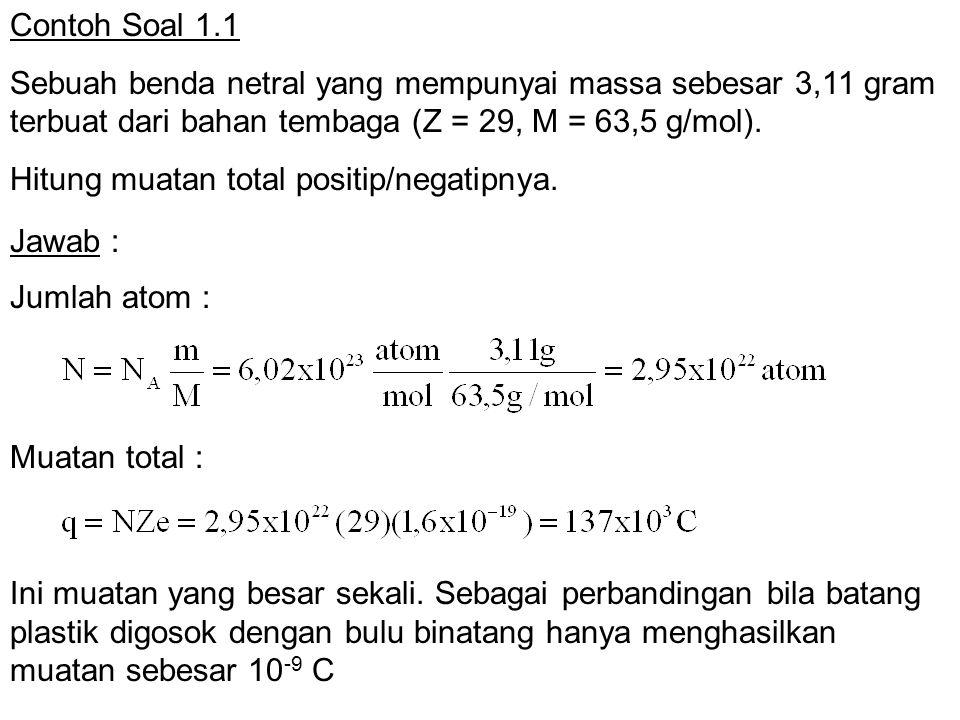 Contoh Soal 1.1 Sebuah benda netral yang mempunyai massa sebesar 3,11 gram terbuat dari bahan tembaga (Z = 29, M = 63,5 g/mol). Hitung muatan total po