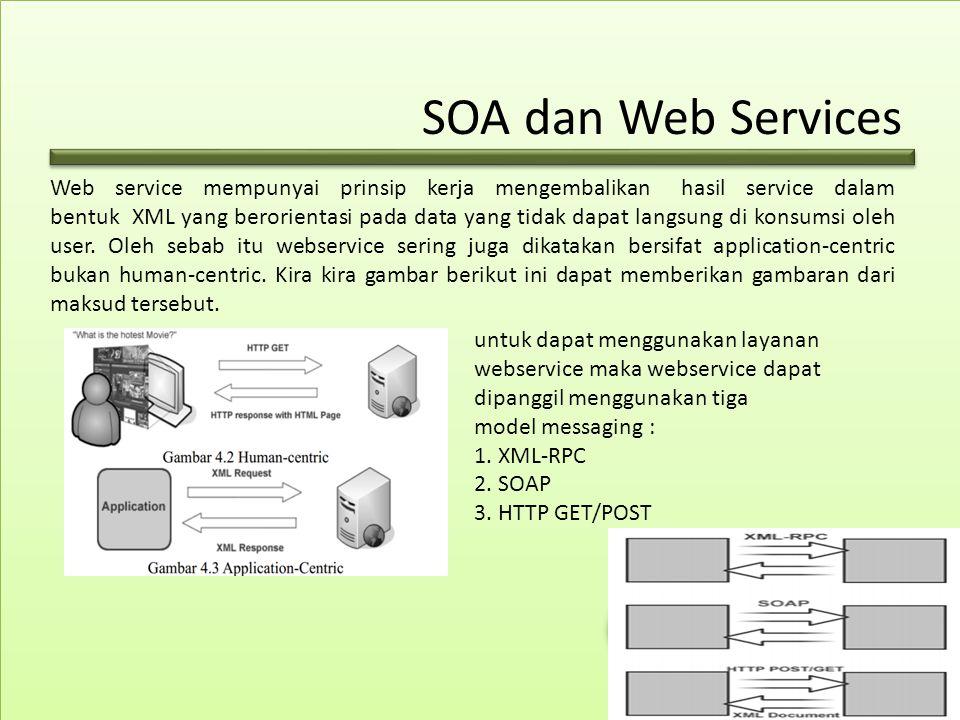 SOA dan Web Services Web service mempunyai prinsip kerja mengembalikan hasil service dalam bentuk XML yang berorientasi pada data yang tidak dapat langsung di konsumsi oleh user.