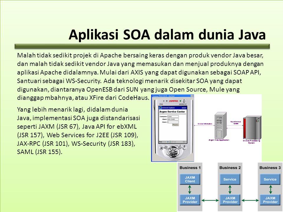 Aplikasi SOA dalam dunia Java Malah tidak sedikit projek di Apache bersaing keras dengan produk vendor Java besar, dan malah tidak sedikit vendor Java yang memasukan dan menjual produknya dengan aplikasi Apache didalamnya.