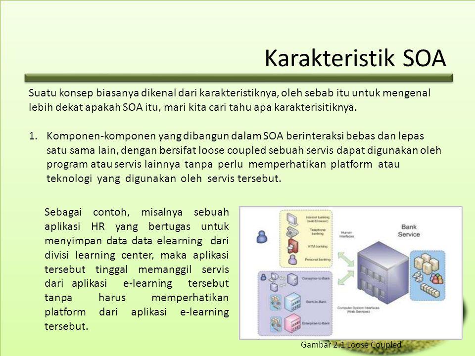 Aplikasi SOA Sedangkan dalam dunia digital, SOA menjadi sangat menarik, apalagi dengan tekanan regional untuk membuat sebuah sistem yang transparan, cepat dan anti birokrasi, yang di Indonesia sering disebut sebagai Single Window.