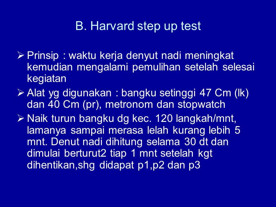 B. Harvard step up test  Prinsip : waktu kerja denyut nadi meningkat kemudian mengalami pemulihan setelah selesai kegiatan  Alat yg digunakan : bang