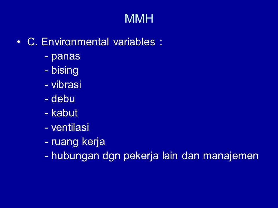 MMH •C. Environmental variables : - panas - bising - vibrasi - debu - kabut - ventilasi - ruang kerja - hubungan dgn pekerja lain dan manajemen