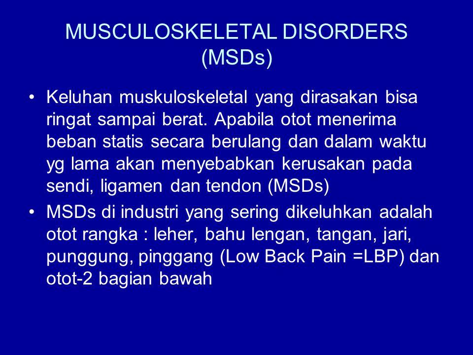 MUSCULOSKELETAL DISORDERS (MSDs) •Keluhan muskuloskeletal yang dirasakan bisa ringat sampai berat. Apabila otot menerima beban statis secara berulang