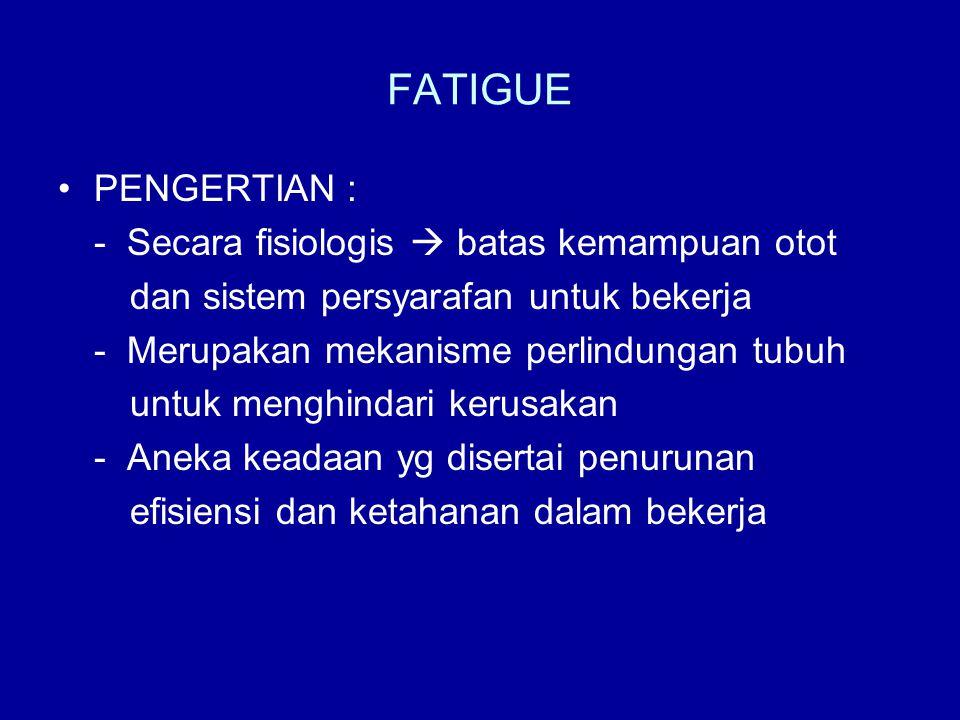 FATIGUE •PENGERTIAN : - Secara fisiologis  batas kemampuan otot dan sistem persyarafan untuk bekerja - Merupakan mekanisme perlindungan tubuh untuk m