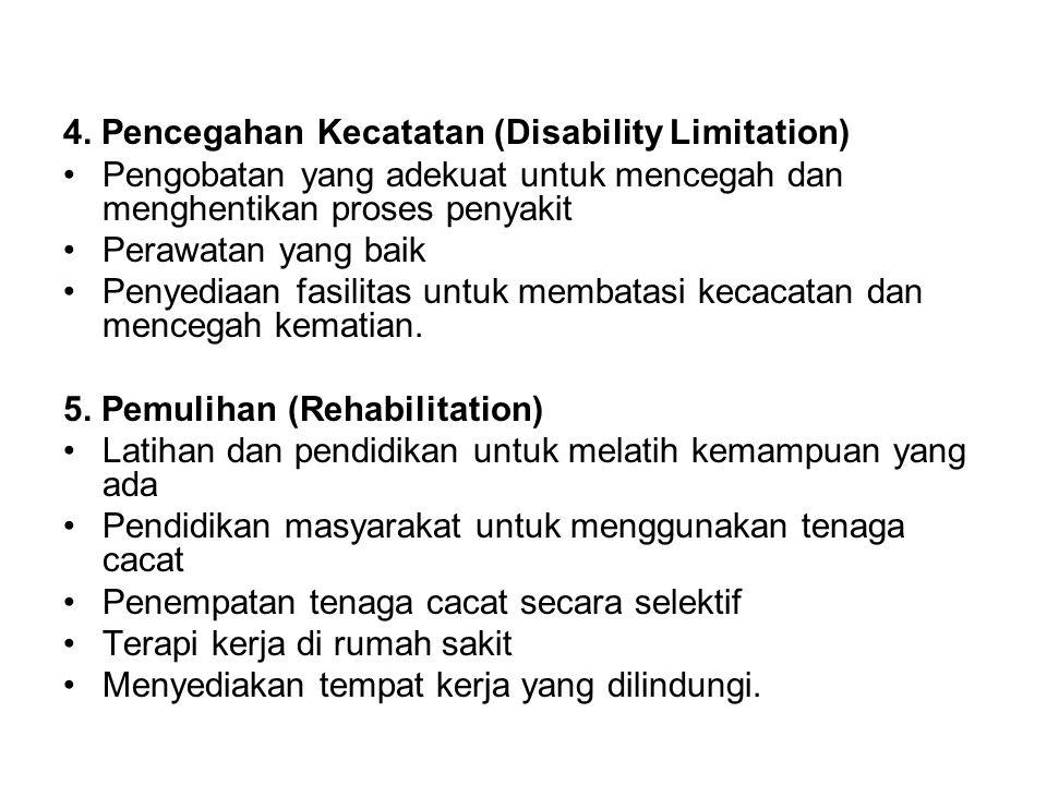 4. Pencegahan Kecatatan (Disability Limitation) •Pengobatan yang adekuat untuk mencegah dan menghentikan proses penyakit •Perawatan yang baik •Penyedi