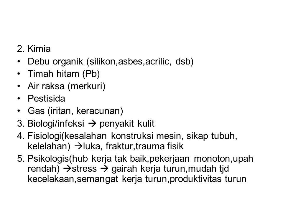 2. Kimia •Debu organik (silikon,asbes,acrilic, dsb) •Timah hitam (Pb) •Air raksa (merkuri) •Pestisida •Gas (iritan, keracunan) 3. Biologi/infeksi  pe