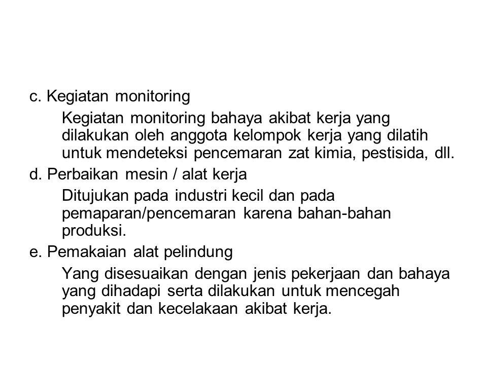 c. Kegiatan monitoring Kegiatan monitoring bahaya akibat kerja yang dilakukan oleh anggota kelompok kerja yang dilatih untuk mendeteksi pencemaran zat
