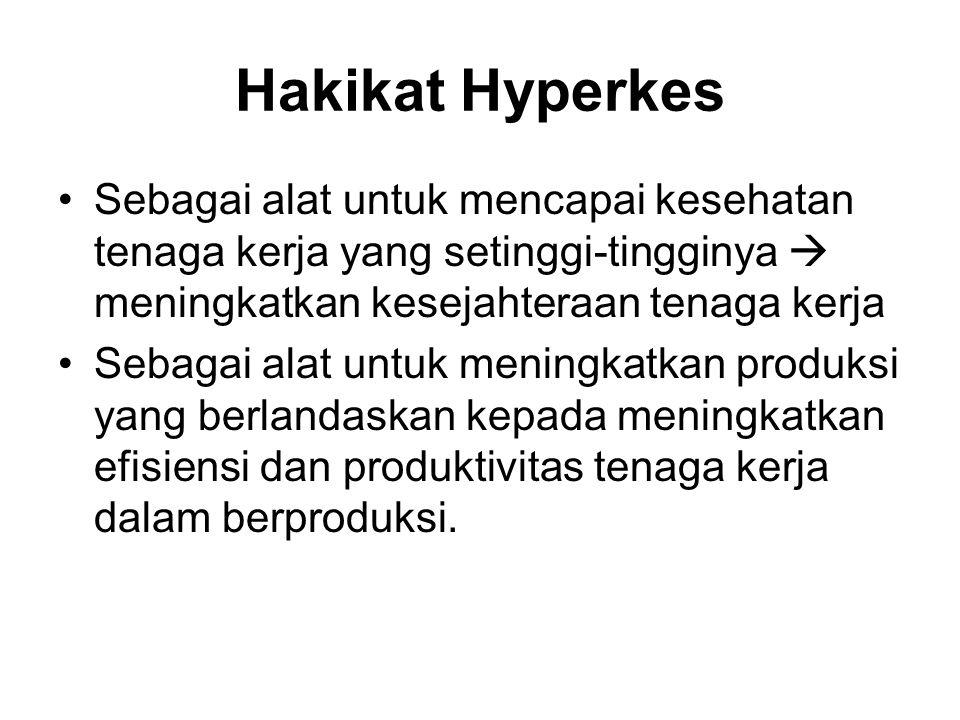 Hakikat Hyperkes •Sebagai alat untuk mencapai kesehatan tenaga kerja yang setinggi-tingginya  meningkatkan kesejahteraan tenaga kerja •Sebagai alat u