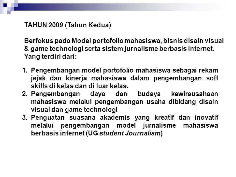 TAHUN 2009 (Tahun Kedua) Berfokus pada Model portofolio mahasiswa, bisnis disain visual & game technologi serta sistem jurnalisme berbasis internet. Y
