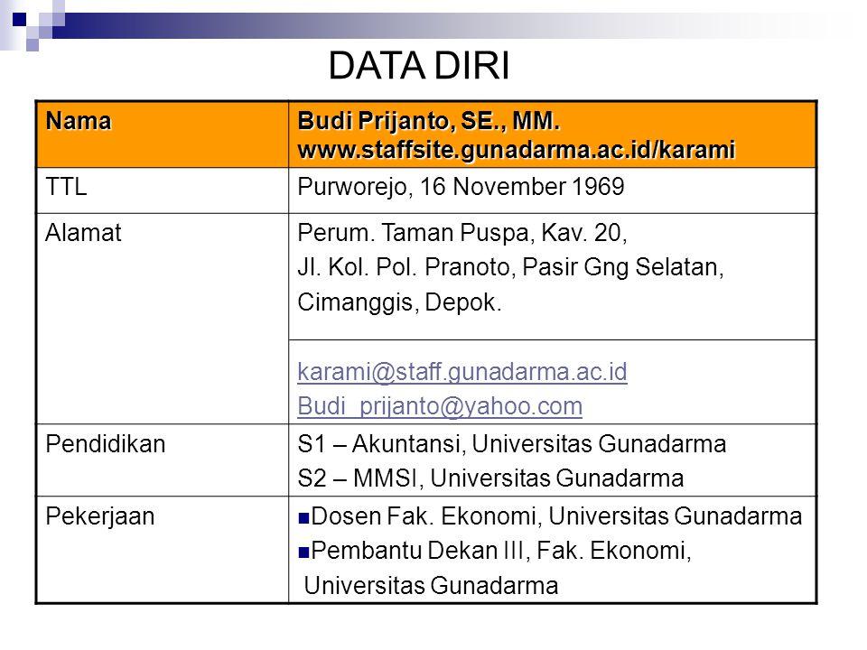 DATA DIRI Nama Budi Prijanto, SE., MM. www.staffsite.gunadarma.ac.id/karami TTLPurworejo, 16 November 1969 AlamatPerum. Taman Puspa, Kav. 20, Jl. Kol.