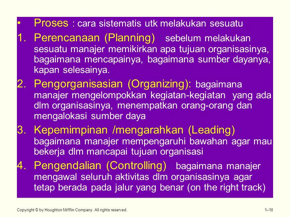 Copyright © by Houghton Mifflin Company. All rights reserved. 1–10 •Proses : cara sistematis utk melakukan sesuatu 1.Perencanaan (Planning) : sebelum