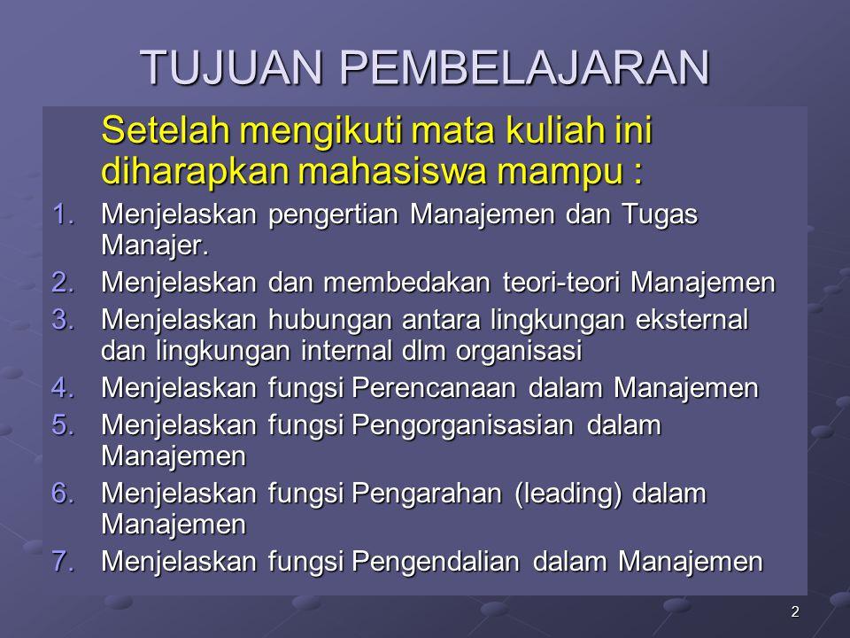 3 Buku referensi 1.Basu Swasta, Azas Manajemen Modern, BPFE, Yogyakarta 2.
