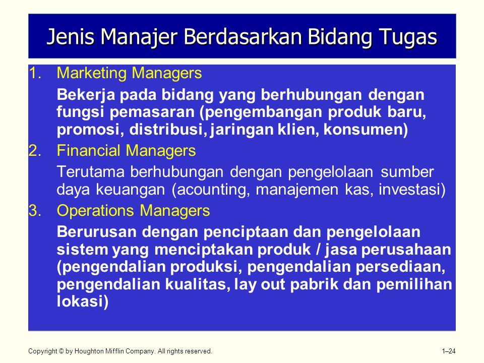 Copyright © by Houghton Mifflin Company. All rights reserved. 1–24 Jenis Manajer Berdasarkan Bidang Tugas 1.Marketing Managers Bekerja pada bidang yan
