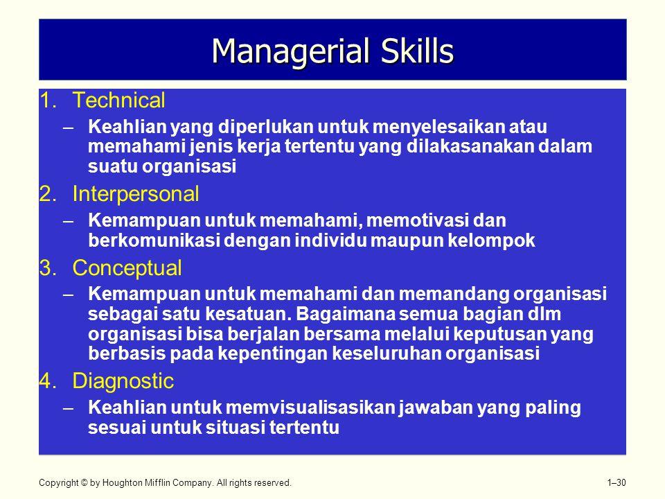 Copyright © by Houghton Mifflin Company. All rights reserved. 1–30 Managerial Skills 1.Technical –Keahlian yang diperlukan untuk menyelesaikan atau me