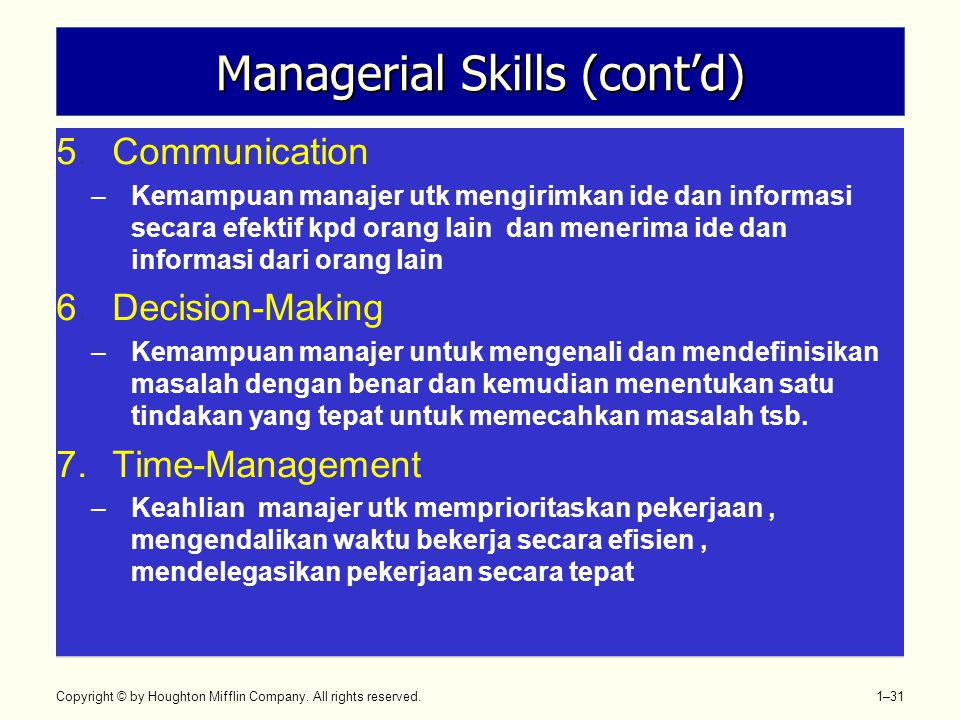 Copyright © by Houghton Mifflin Company. All rights reserved. 1–31 Managerial Skills (cont'd) 5.Communication –Kemampuan manajer utk mengirimkan ide d