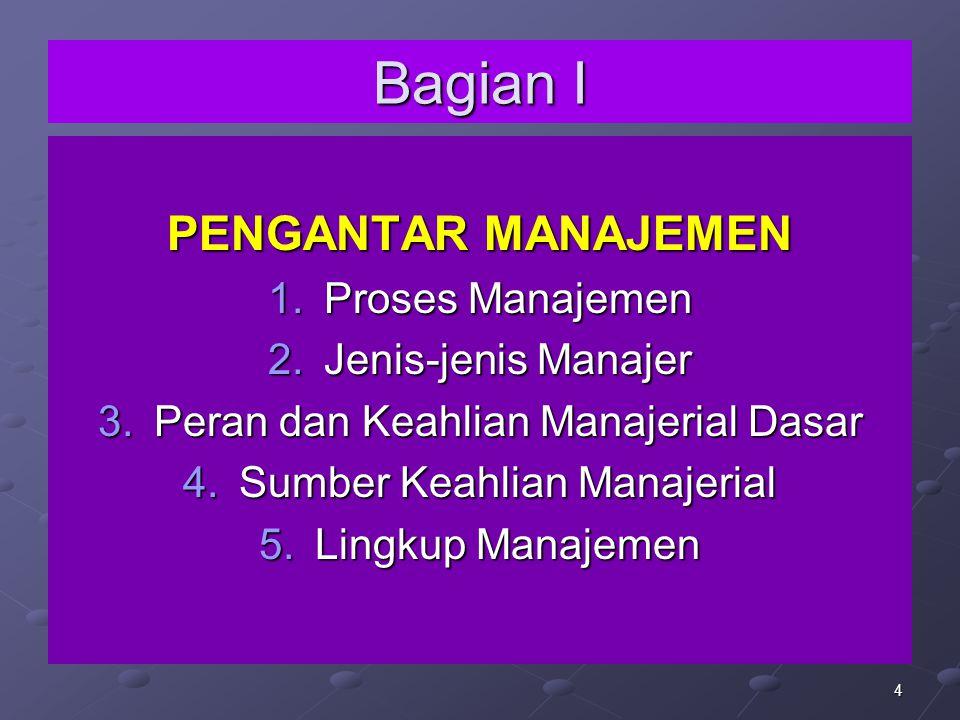 4 Bagian I PENGANTAR MANAJEMEN 1.Proses Manajemen 2.Jenis-jenis Manajer 3.Peran dan Keahlian Manajerial Dasar 4.Sumber Keahlian Manajerial 5.Lingkup M
