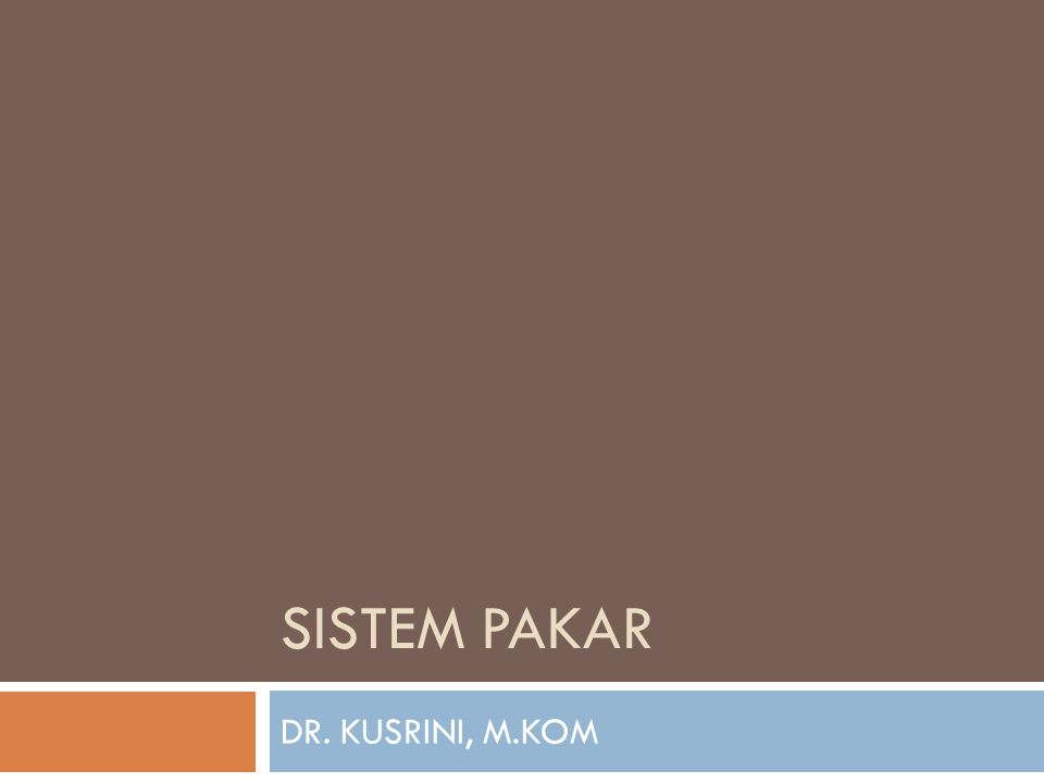 SISTEM PAKAR DR. KUSRINI, M.KOM