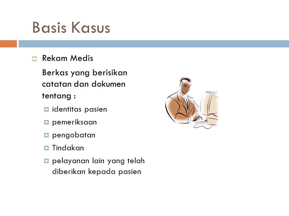 Basis Kasus  Rekam Medis Berkas yang berisikan catatan dan dokumen tentang :  identitas pasien  pemeriksaan  pengobatan  Tindakan  pelayanan lai