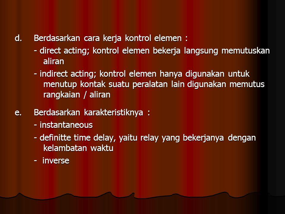 d.Berdasarkan cara kerja kontrol elemen : - direct acting; kontrol elemen bekerja langsung memutuskan aliran - indirect acting; kontrol elemen hanya digunakan untuk menutup kontak suatu peralatan lain digunakan memutus rangkaian / aliran e.Berdasarkan karakteristiknya : - instantaneous - definitte time delay, yaitu relay yang bekerjanya dengan kelambatan waktu - inverse