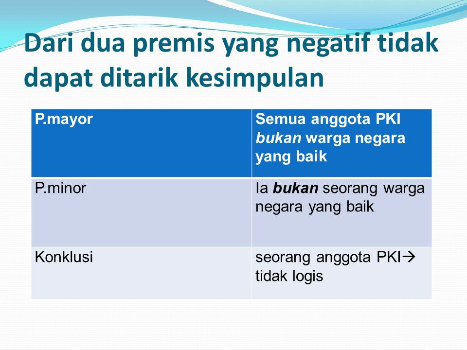 Dari dua premis yang negatif tidak dapat ditarik kesimpulan P.mayorSemua anggota PKI bukan warga negara yang baik P.minorIa bukan seorang warga negara yang baik Konklusiseorang anggota PKI  tidak logis