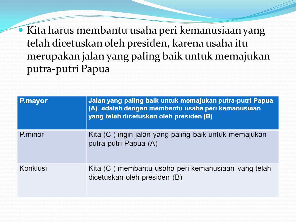  Kita harus membantu usaha peri kemanusiaan yang telah dicetuskan oleh presiden, karena usaha itu merupakan jalan yang paling baik untuk memajukan putra-putri Papua P.mayor Jalan yang paling baik untuk memajukan putra-putri Papua (A) adalah dengan membantu usaha peri kemanusiaan yang telah dicetuskan oleh presiden (B) P.minorKita (C ) ingin jalan yang paling baik untuk memajukan putra-putri Papua (A) KonklusiKita (C ) membantu usaha peri kemanusiaan yang telah dicetuskan oleh presiden (B)