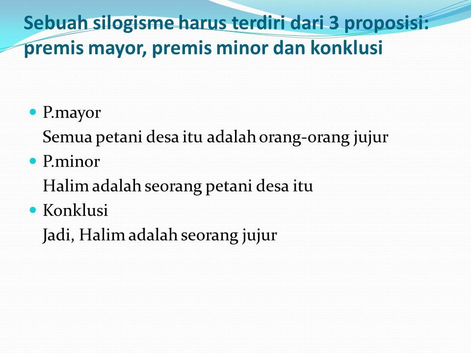 Sebuah silogisme harus terdiri dari 3 proposisi: premis mayor, premis minor dan konklusi  P.mayor Semua petani desa itu adalah orang-orang jujur  P.minor Halim adalah seorang petani desa itu  Konklusi Jadi, Halim adalah seorang jujur