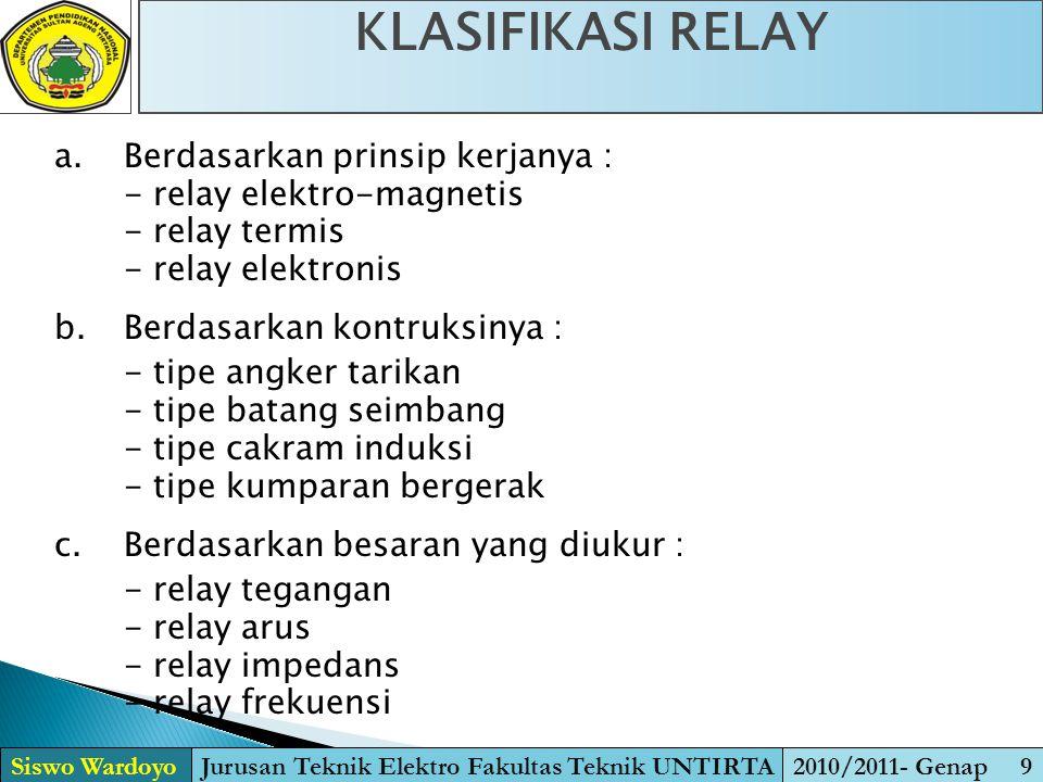 KLASIFIKASI RELAY Siswo WardoyoJurusan Teknik Elektro Fakultas Teknik UNTIRTA2010/2011- Genap 9 a. Berdasarkan prinsip kerjanya : - relay elektro-magn
