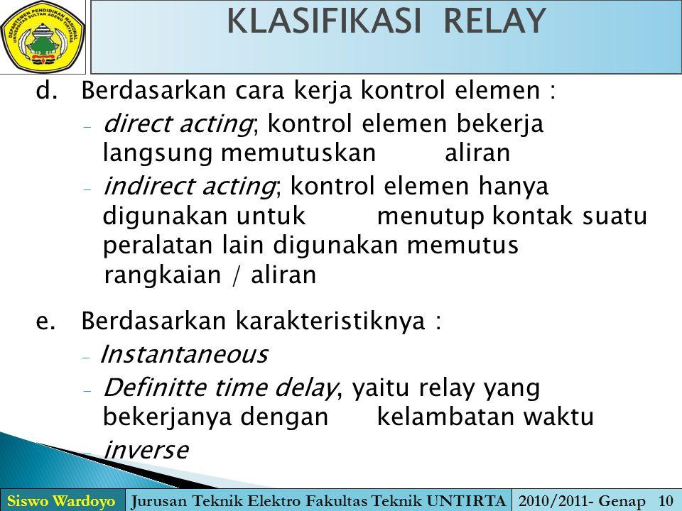 KLASIFIKASI RELAY Siswo WardoyoJurusan Teknik Elektro Fakultas Teknik UNTIRTA2010/2011- Genap 10 d.Berdasarkan cara kerja kontrol elemen : - direct ac