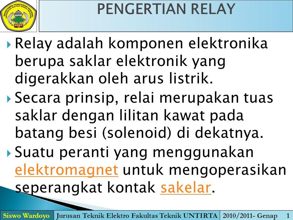  Relay adalah komponen elektronika berupa saklar elektronik yang digerakkan oleh arus listrik.  Secara prinsip, relai merupakan tuas saklar dengan l