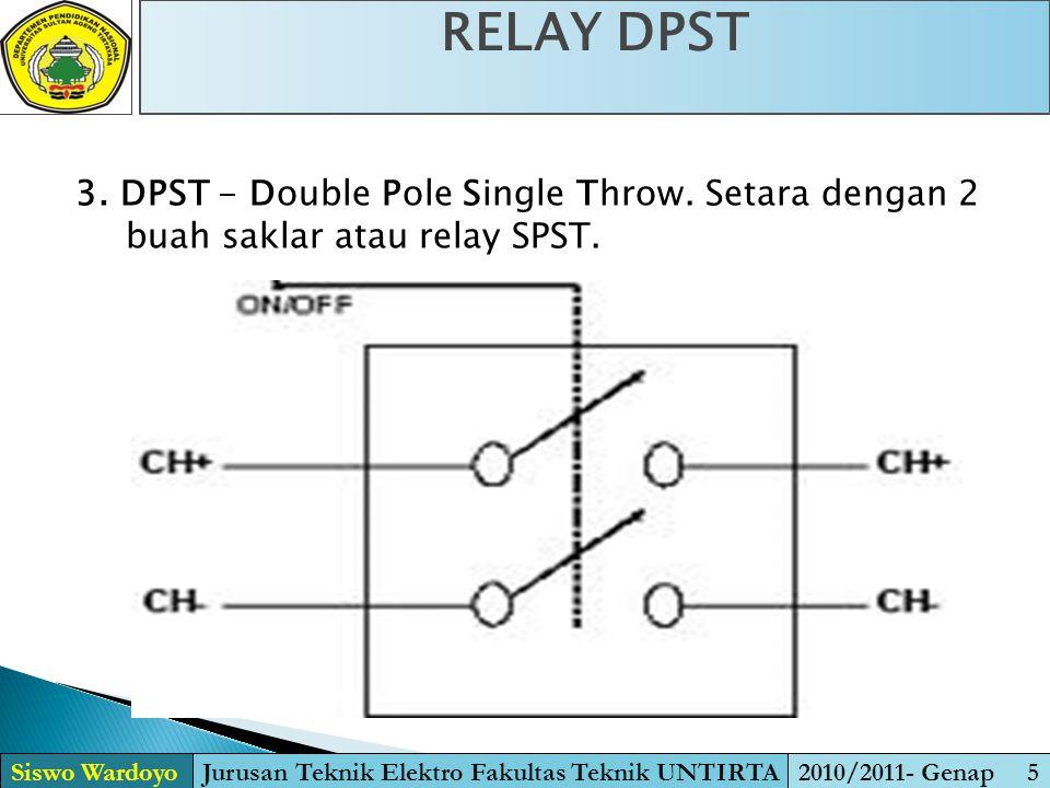 4.DPDT - Double Pole Double Throw. Setara dengan 2 buah saklar atau relay SPDT.