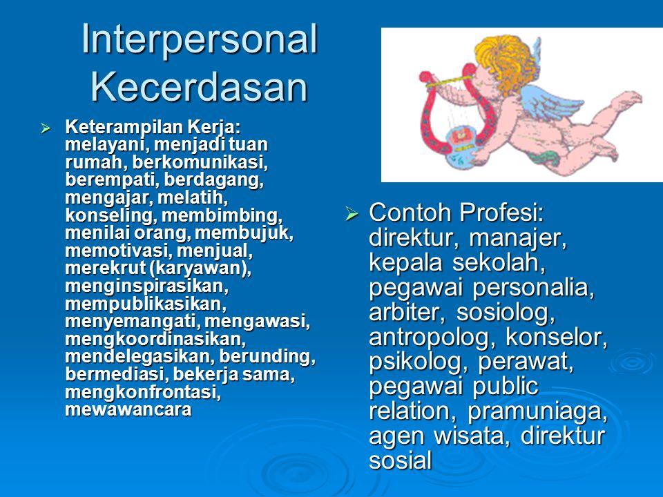 Interpersonal Kecerdasan  Keterampilan Kerja: melayani, menjadi tuan rumah, berkomunikasi, berempati, berdagang, mengajar, melatih, konseling, membim