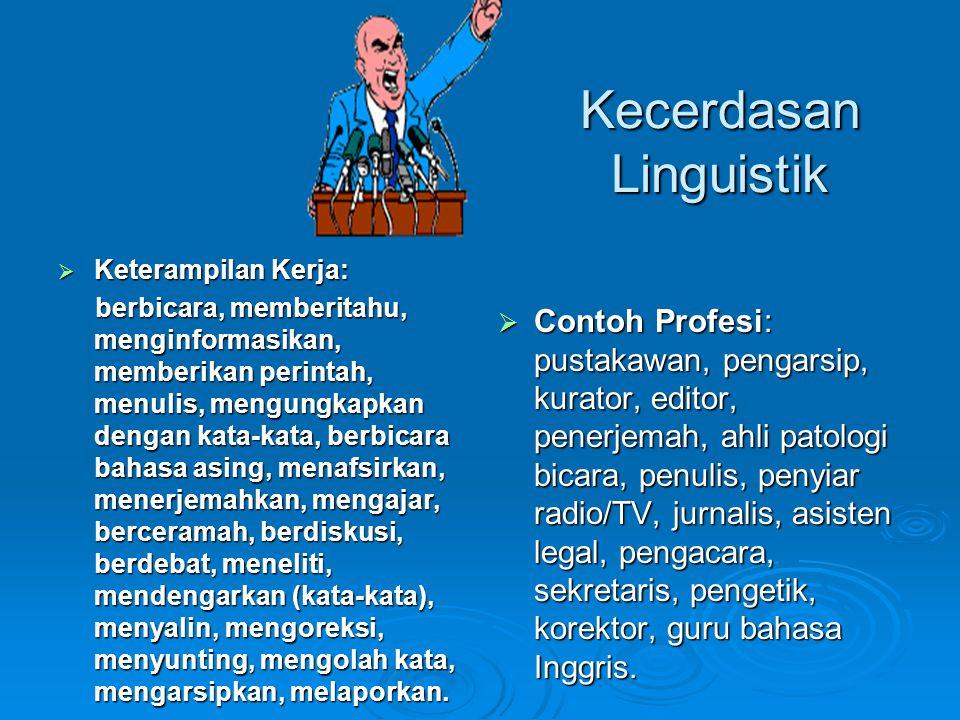 Kecerdasan Linguistik  Keterampilan Kerja: berbicara, memberitahu, menginformasikan, memberikan perintah, menulis, mengungkapkan dengan kata-kata, be