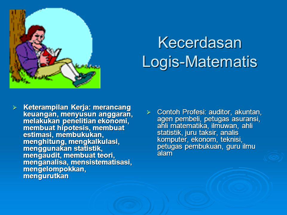 Kecerdasan Logis-Matematis  Keterampilan Kerja: merancang keuangan, menyusun anggaran, melakukan penelitian ekonomi, membuat hipotesis, membuat estim