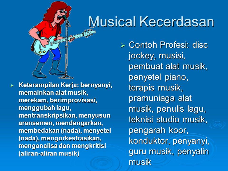 Musical Kecerdasan  Keterampilan Kerja: bernyanyi, memainkan alat musik, merekam, berimprovisasi, menggubah lagu, mentranskripsikan, menyusun aransem