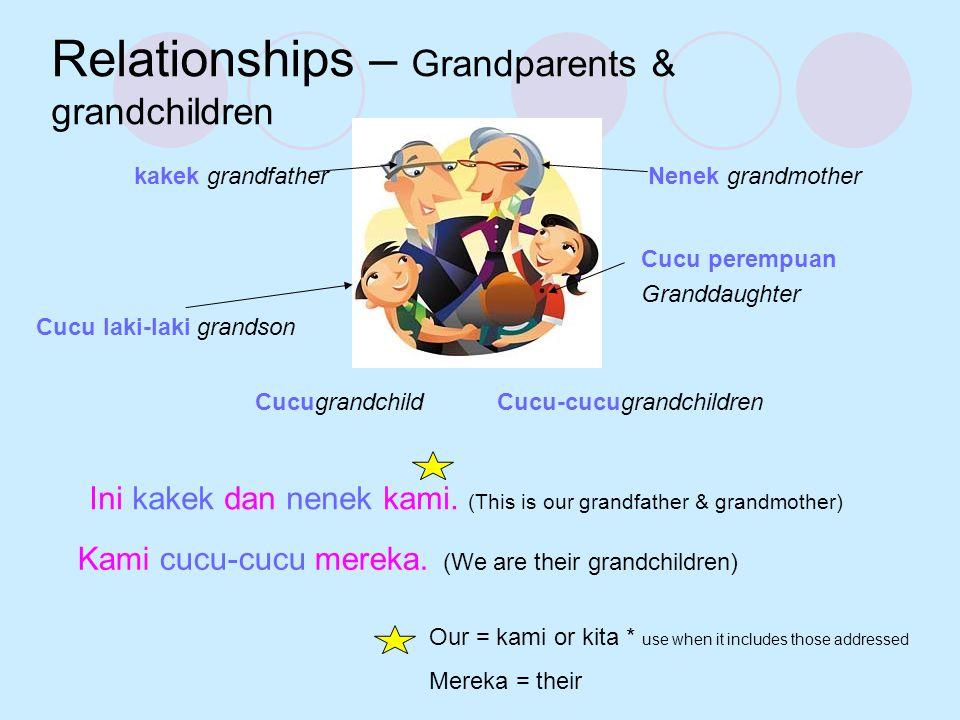 Relationships – Grandparents & grandchildren kakek grandfatherNenek grandmother CucugrandchildCucu-cucugrandchildren Ini kakek dan nenek kami. (This i
