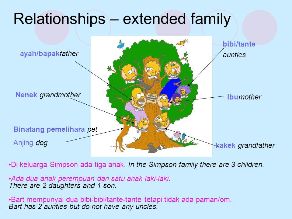 ayah/bapakfather Ibumother Relationships – extended family kakek grandfather Nenek grandmother bibi/tante aunties Binatang pemelihara pet Anjing dog •