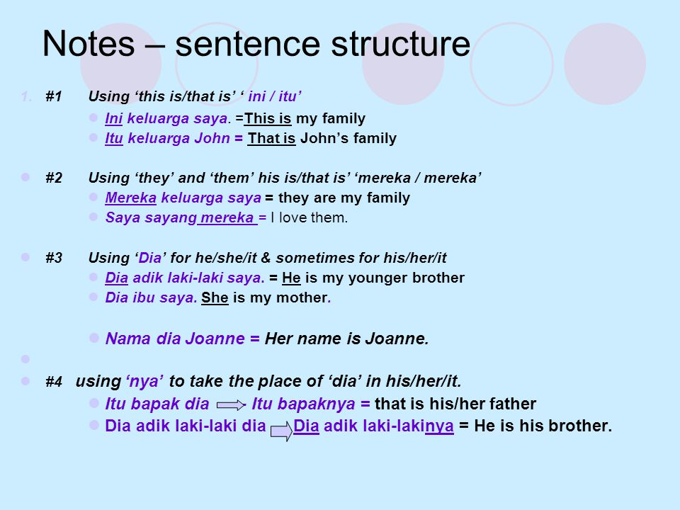 Notes – sentence structure 1.
