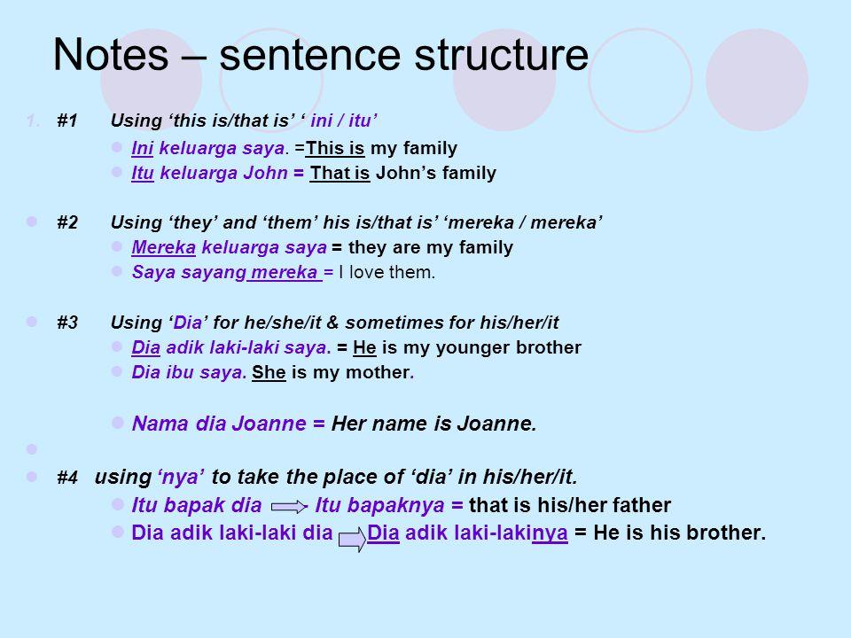 Notes – sentence structure 1.#1Using 'this is/that is' ' ini / itu'  Ini keluarga saya. =This is my family  Itu keluarga John = That is John's famil