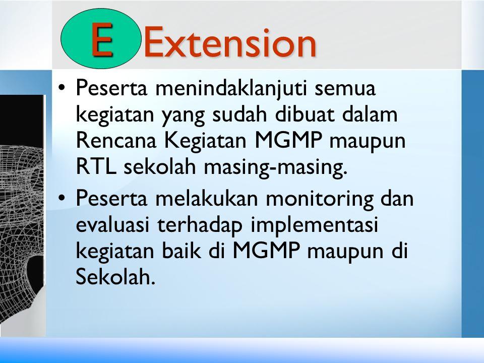 Extension •Peserta menindaklanjuti semua kegiatan yang sudah dibuat dalam Rencana Kegiatan MGMP maupun RTL sekolah masing-masing. •Peserta melakukan m
