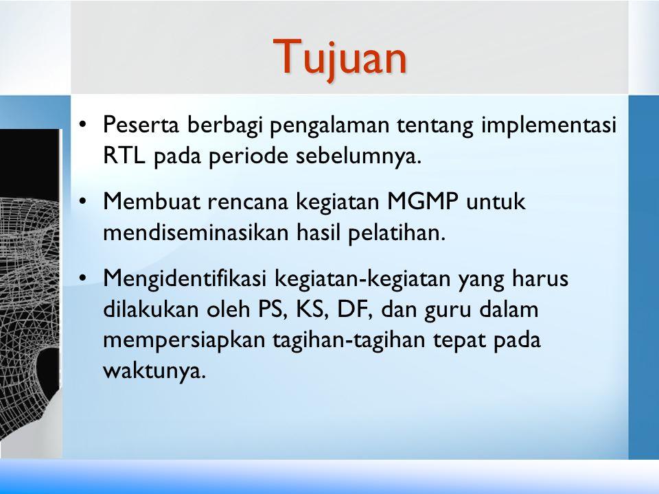 Tujuan •Peserta berbagi pengalaman tentang implementasi RTL pada periode sebelumnya. •Membuat rencana kegiatan MGMP untuk mendiseminasikan hasil pelat