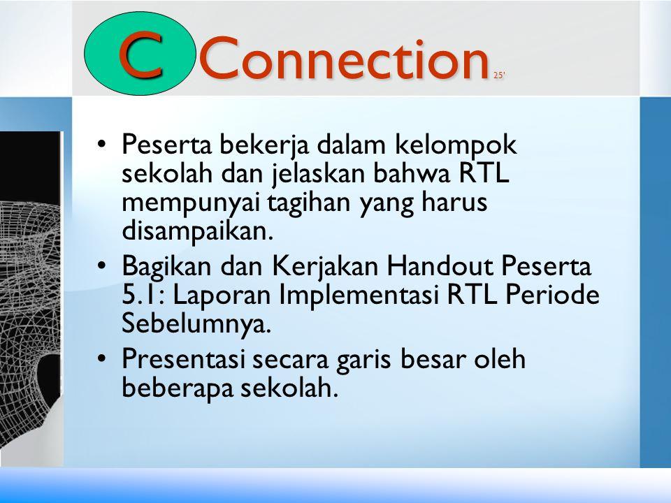 Connection 25' •Peserta bekerja dalam kelompok sekolah dan jelaskan bahwa RTL mempunyai tagihan yang harus disampaikan. •Bagikan dan Kerjakan Handout