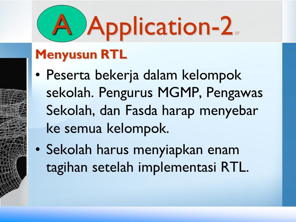 Application-2 Application-2 35' Menyusun RTL •Peserta bekerja dalam kelompok sekolah. Pengurus MGMP, Pengawas Sekolah, dan Fasda harap menyebar ke sem