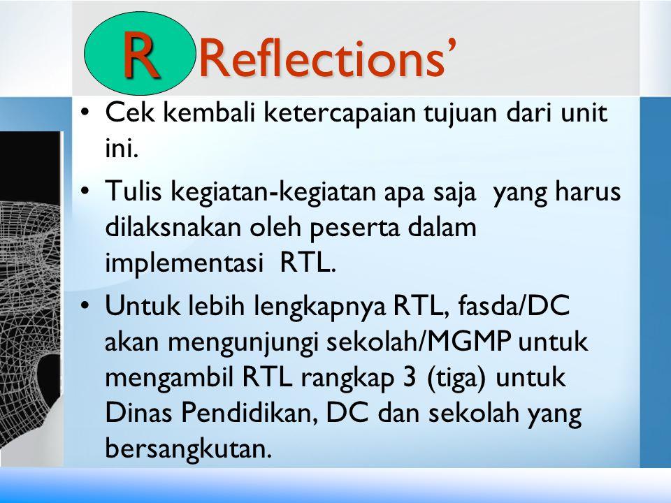 Reflection Reflections' •Cek kembali ketercapaian tujuan dari unit ini. •Tulis kegiatan-kegiatan apa saja yang harus dilaksnakan oleh peserta dalam im