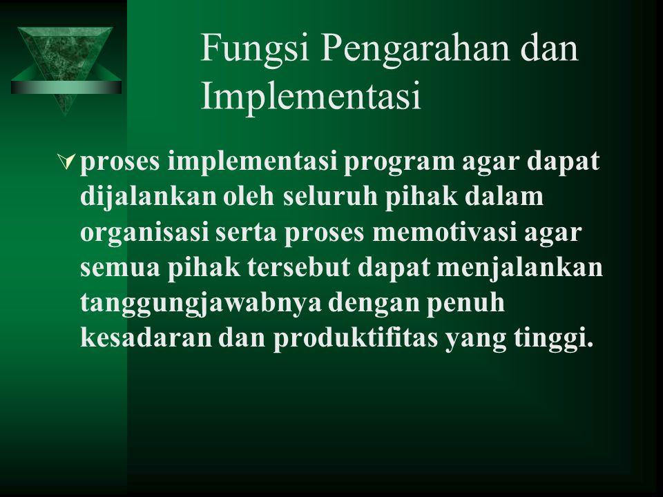 Fungsi Pengarahan dan Implementasi  proses implementasi program agar dapat dijalankan oleh seluruh pihak dalam organisasi serta proses memotivasi aga