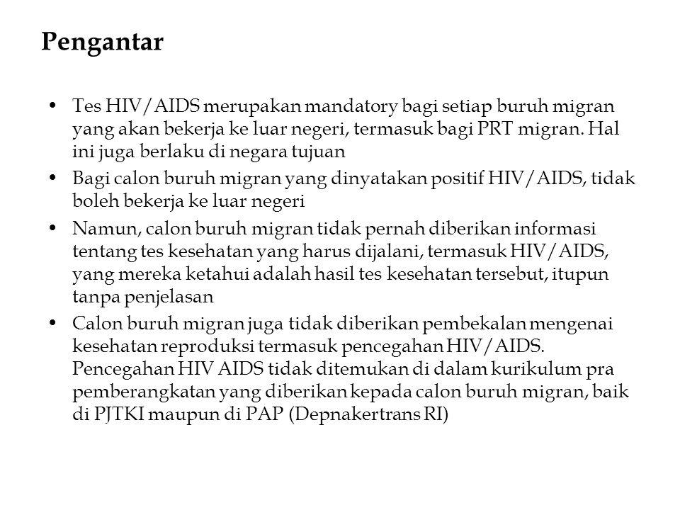 Pengantar •Tes HIV/AIDS merupakan mandatory bagi setiap buruh migran yang akan bekerja ke luar negeri, termasuk bagi PRT migran. Hal ini juga berlaku