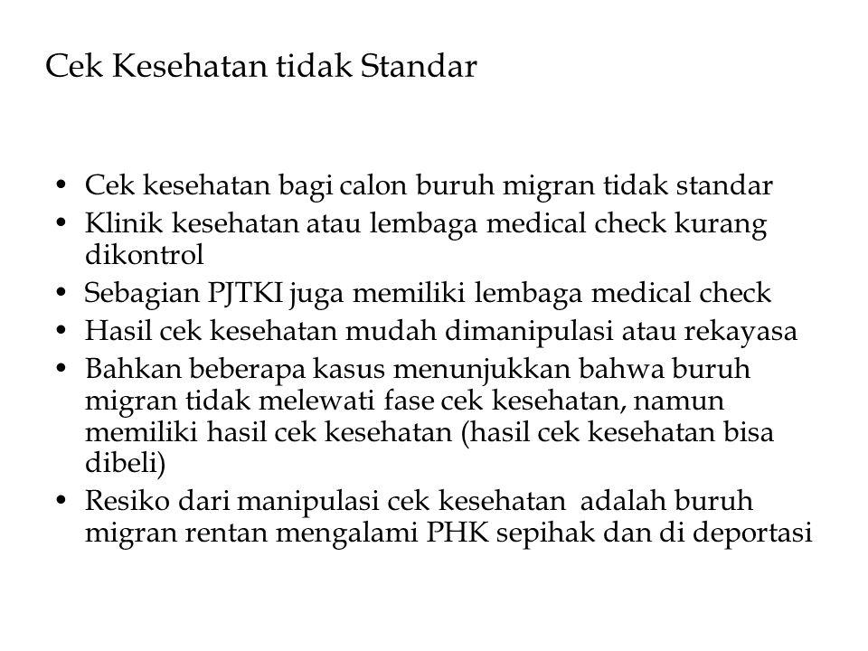 Cek Kesehatan tidak Standar •Cek kesehatan bagi calon buruh migran tidak standar •Klinik kesehatan atau lembaga medical check kurang dikontrol •Sebagi