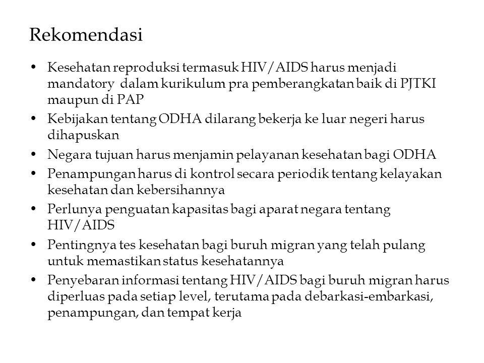Rekomendasi •Kesehatan reproduksi termasuk HIV/AIDS harus menjadi mandatory dalam kurikulum pra pemberangkatan baik di PJTKI maupun di PAP •Kebijakan