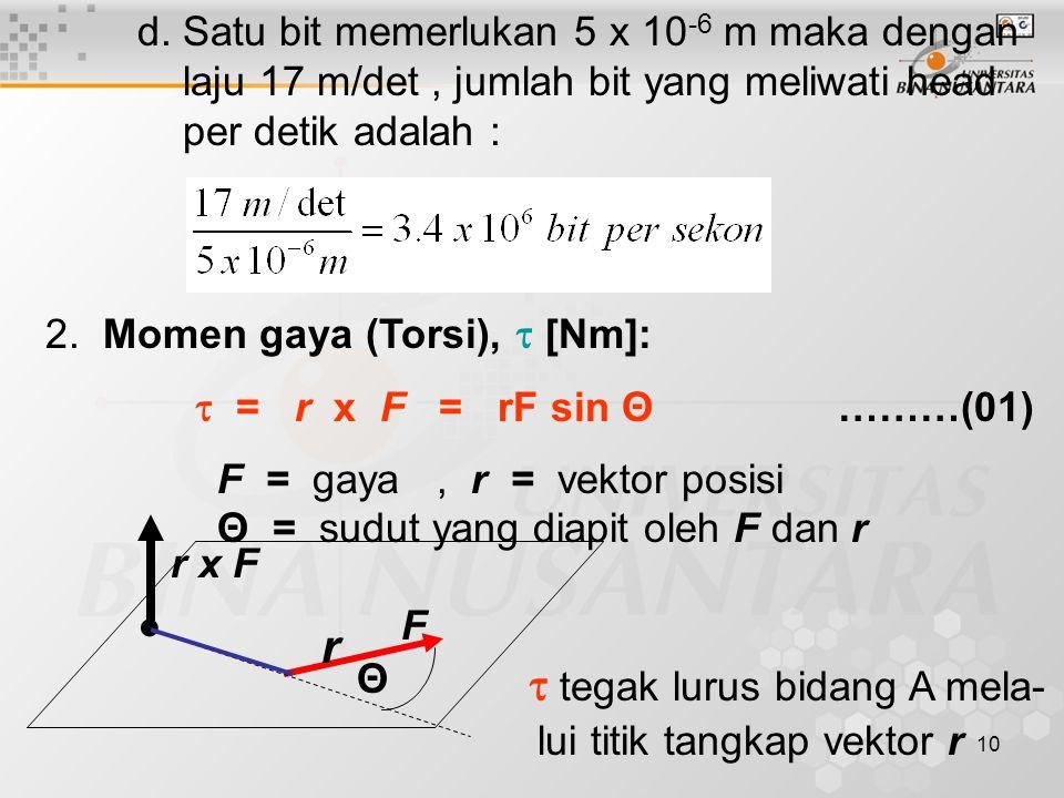 10 d. Satu bit memerlukan 5 x 10 -6 m maka dengan laju 17 m/det, jumlah bit yang meliwati head per detik adalah : 2. Momen gaya (Torsi), τ [Nm]: τ = r