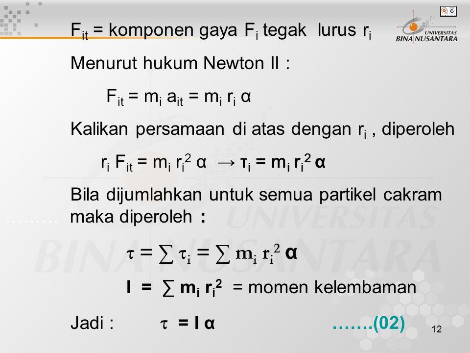12 F it = komponen gaya F i tegak lurus r i Menurut hukum Newton II : F it = m i a it = m i r i α Kalikan persamaan di atas dengan r i, diperoleh r i