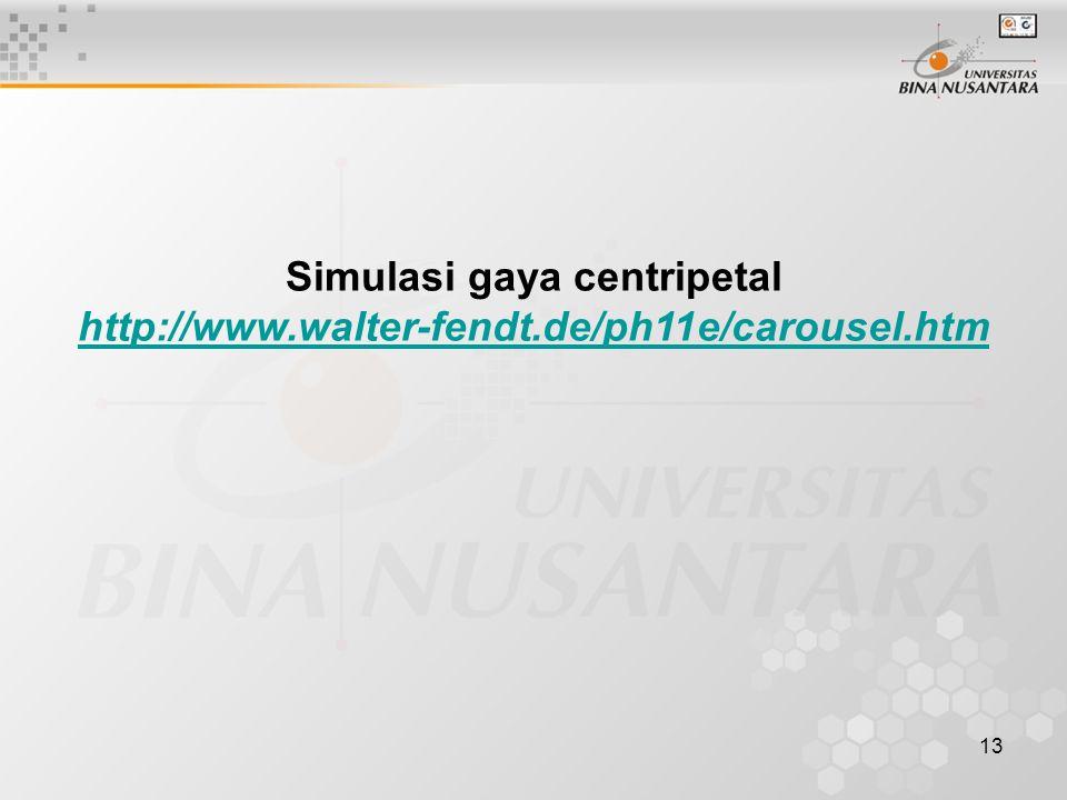 13 Simulasi gaya centripetal http://www.walter-fendt.de/ph11e/carousel.htm